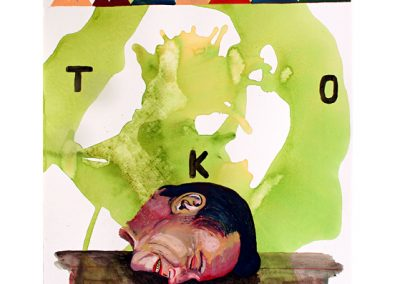 "Party's Over   2005 20"" X 26"" watercolor on paper"